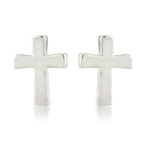 Boucles clous en croix argentée