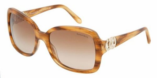 Tiffany & Co. Women's 4029 Striped Brown Frame/Brown Gradient Lens Plastic - Co And Tiffany Uk Sunglasses