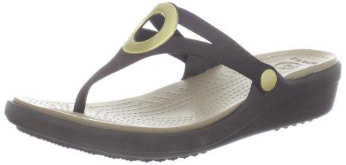 Crocs - - Frauen Sanrah Wedge Flip-Flops Damenschuhe Espresso/Khaki