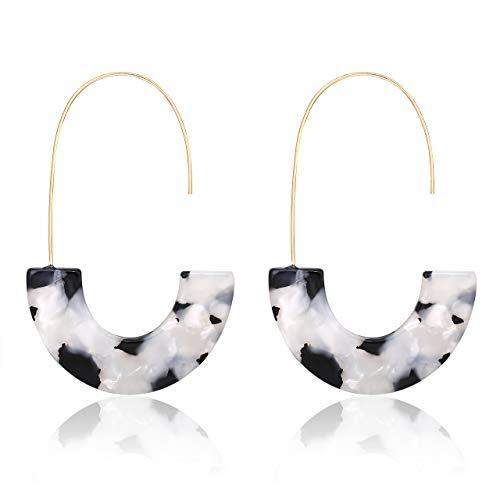 MOLOCH Acrylic Earrings Statement Tortoise Hoop Earrings Resin Wire Drop Dangle Earrings Fashion Jewelry for Women (Black and White) ()