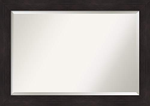 Amanti Art Vanity Bathroom Furniture Espresso Frame | Wall Mounted Mirror, Glass Size 36x24,