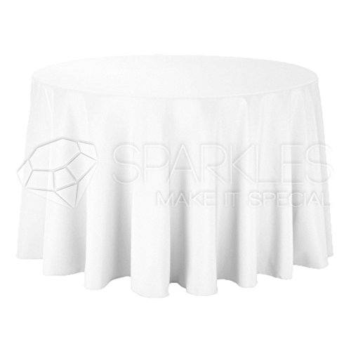 """Sparkles Make It Special 10-pcs 108"""" Inch Round Polyester Cloth Fabric Linen Tablecloth - Wedding Reception Restaurant Banquet Party - Machine Washable - Choice of Color - White"""
