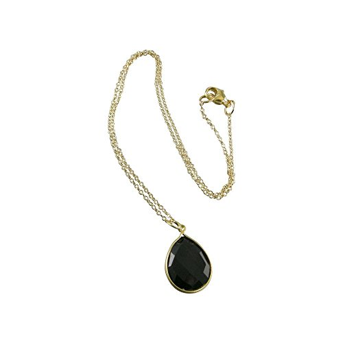 Black Onyx Gold Vermeil Teardrop Bezel Necklace Black Onyx With Vermeil Necklace