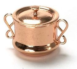 Dollhouse Miniature Copper Soup Tureen with Lid