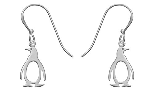 (14k White Gold Over Sterling Silver Penguin Earrings In 14K Gold Over Sterling Silver)