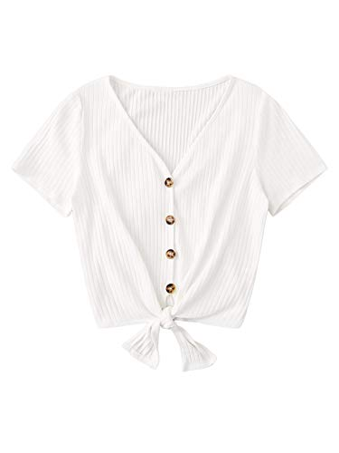 Verdusa Women's Button Front Knot Hem Ruffle Sleeve Ribbed Crop Top T-Shirt White L