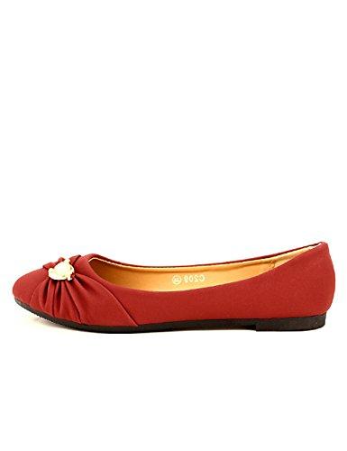Femme Ballerine FLAMS Chaussures Bordeaux Perles Cendriyon qTwd1XT