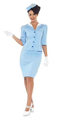 Flight Retro (Smiffy's Women's Air Hostess Costume with Jacket and Mock Collar Hat Skirt and Gloves, Blue, Large)