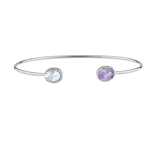 Elizabeth Jewelry Genuine Aquamarine & Created Alexandrite Diamond Bangle Oval Bracelet .925 Sterling Silver Rhodium Finish