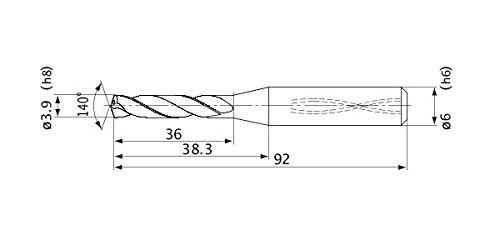 Internal Coolant 3.9 mm Cutting Dia Mitsubishi Materials MVS0390X05S060 MVS Series Solid Carbide Drill 6 mm Shank Dia. 5 mm Hole Depth 0.7 mm Point Length