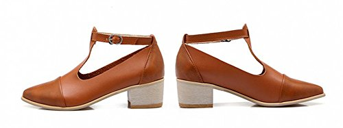 Image of Aisun Women's Vintage T Strap Chunky Mid Heels Pumps Shoes