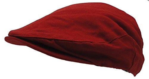 Wonderful Fashion Men's Cotton Front Button Flat Cap IVY Gatsby newsboy Hunting Hat (Red) -