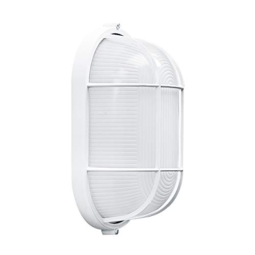 - Waterproof Grid Oval Bulkhead Ceiling Light, White Outdoor Wall Light, Safety - 8 Inches, Suitable for Bedroom/Sauna Room/Storehouse, Warranty.