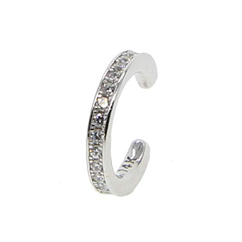 (HOMZE Sterling Silver Earrings Ear Cuff Clip On Round cz Circle Stack 3 Colors No Piercing Women Earring Accessories Platinum Plated)