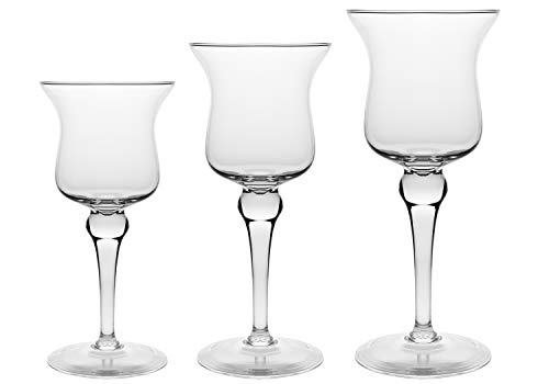Majestic Crystal Candle - Barski - European Quality -Hand Blown Glass - Beautiful Set of 3 - Pillar Candle Holders - 11.5