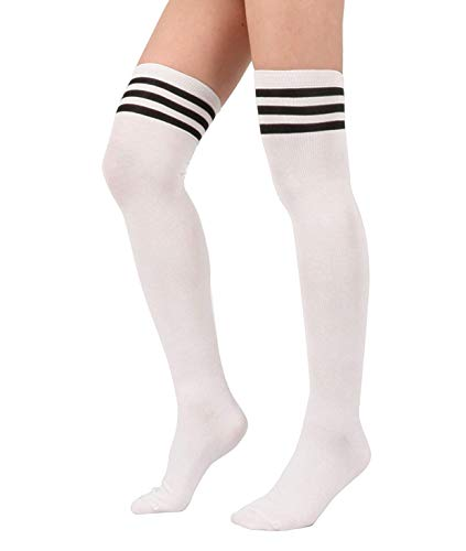 Zando Women Casual Over the Knee Cosplay Socks Triple Stripe Thigh High Cotton Sock Long Striped Leg Warmers 1 Pairs White (Stripe Thigh High Socks)