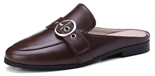 U-lite Women's Cowhide Round-Buckle Flat Slide Mule Shoes Brown8 by U-lite