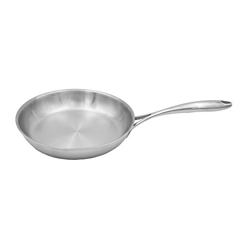"Tuxton Home THBCF1-SS10-M Duratux Tri-Ply Dishwasher and Oven Safe Open Frypan, 10"", Stainless Steel"