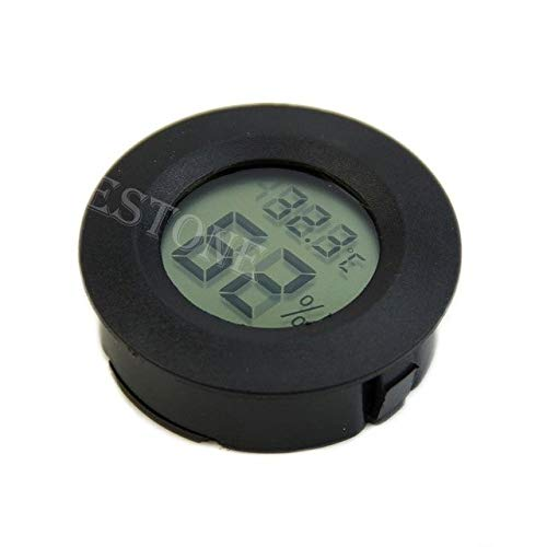 Lindsie Box - Digital Cigar Humidor Hygrometer Thermometer Round Black Face Black