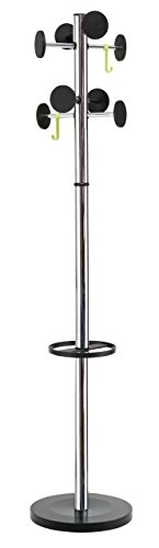 - Alba Floor Coat Stand with 8 Rounded Plastic Coat Pegs, Chrome (PMSTAN3CH)