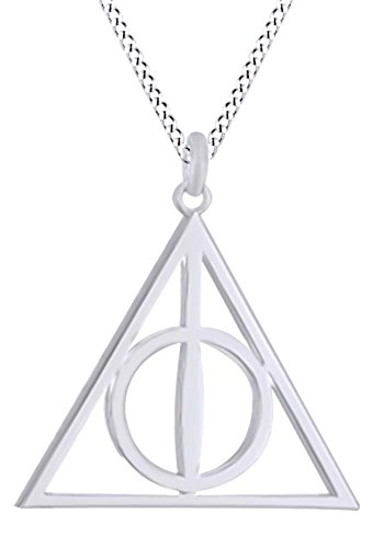 AFFY Harry Potter Deathly Hallow Symbol Pendant Necklace 14K White Gold Over Sterling Silver