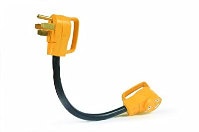 Camco RV Dogbone Electrical Adapter With PowerGrip Handle, 50 Amp Male To 30 Amp Female, 18-Inch (55175)