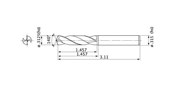 2 mm Hole Depth 1.4 mm Point Length 8 mm Shank Dia. Mitsubishi Materials MVE0750X02S080 Series MVE Solid Carbide Drill 7.5 mm Cutting Dia External Coolant