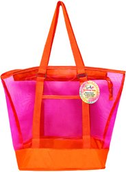 Sunlily Large Orange Two-Tone Mesh Tote Bag by SunLily