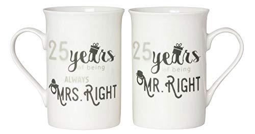Designer 25th Anniversary Mr Right & Mrs Always Right Mug Gift Set by Happy Homewares ()