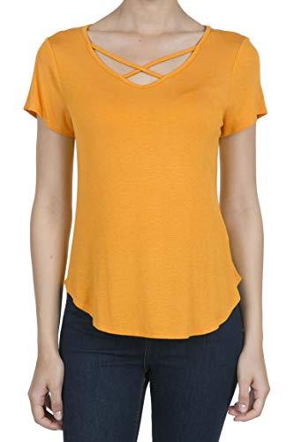 9003 Women's Casual Short Sleeve Solid Criss Cross V-Neck T-Shirt Tops Marigold 2XL ()