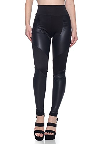J2 Love Women's Faux Leather Inset Scuba Legging, Medium, ()