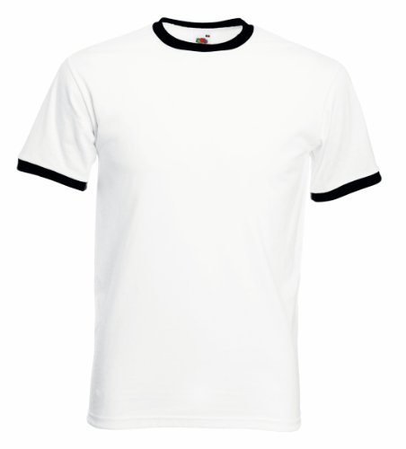 Fruit of the Loom Men's Contrast Ringer Short Sleeve T Shirt White/Black L (Fruit The Loom Tee Ringer Of)