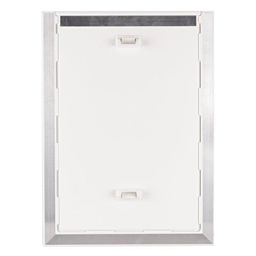 BarksBar-Original-Plastic-Dog-Door-With-Aluminum-Lining-White-Soft-Flap-2-Way-Locking-Sliding-Panel-and-Telescoping-Frame