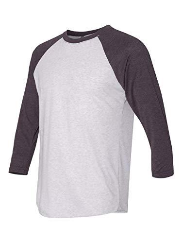 Next Level Apparel 6051 Unisex Tri-Blend 3 By 4 Sleeve Raglan - Vintage Purple & Heather White, Extra Small (Sale Vintage T-shirt)