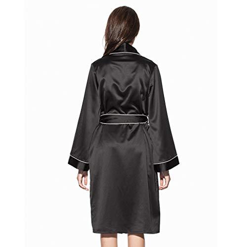 De Mujeres Mejor Batas Pijamas Largas Black Seda M Size Hogar Para El Vestidos Ropa Regalo Black color 5qgpRxwPzg