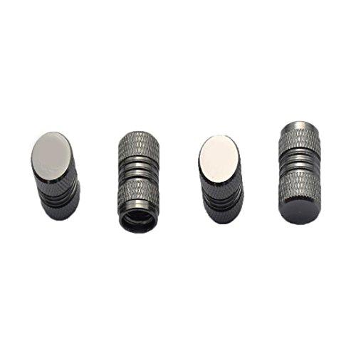 Malloom Aluminum Tire Valve Stem Caps Wheel Air Valve Covers Dustproof Car Caps, 4 Pieces (Gray) Gray Valve Covers