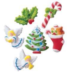 24pk Deluxe Christmas Assortment 1 7/8 Edible Sugar Decoration Toppers for Cakes Cupcakes Cake Pops w. Edible Sparkle Flakes & Decorating Stickers