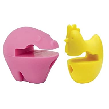 ChefLand Pig and Chicken Pot Spoon Holder, Pink and Yellow, Set of 2