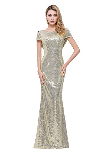 (Sparkle Champagne Sequins Bridesmaid Dresses Modest Long Prom Evening Gowns,10,Champagne Gold)
