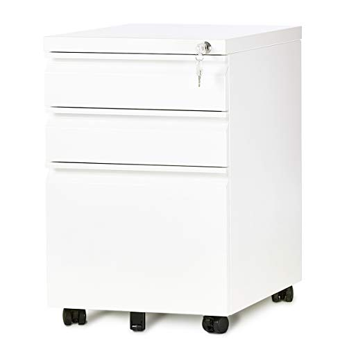 - DEVAISE 3-Drawer Mobile File Cabinet with Lock, 19.7