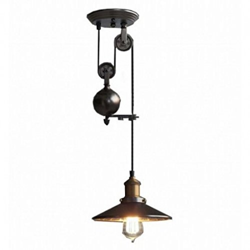 Up and down adjustable edison retro industrial countryside pulley pendant lamp light