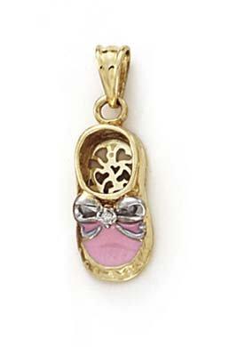 14k Yellow Gold Diamond Pink Enamel Baby Shoe Pendant ()
