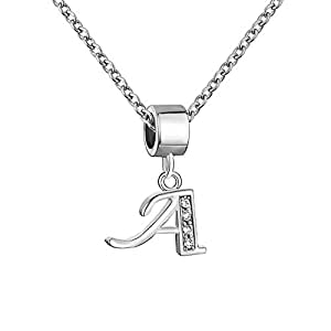 Mel Crouch A-Z Birthday Alphabet Charms Letter Initial Charms Pendant Necklaces (A)