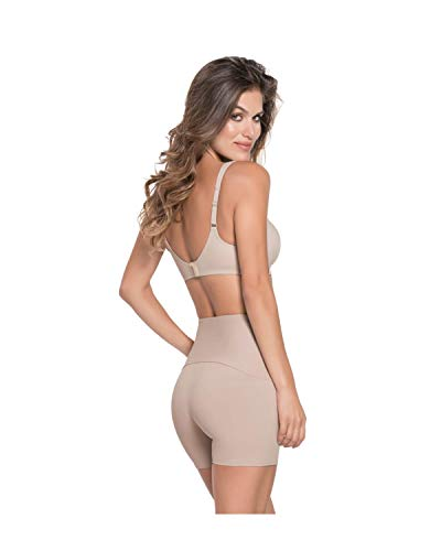 Leonisa ActiveLife Moderate Compression Power Forward Shaper High-Waisted Short Athletic Shorts for Women Beige