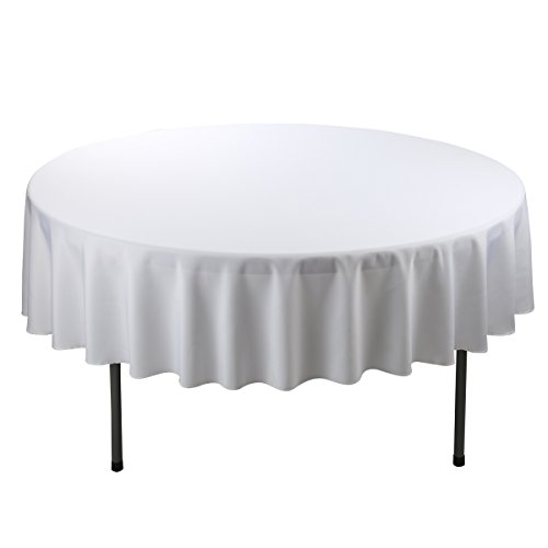 E-Tex 70-Inch Round Polyester Tablecloth White