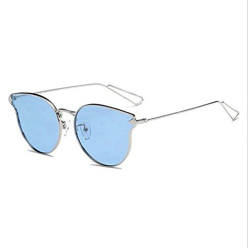 lunettes 6 femelles soleil rond à Bleu de mles Mer de soleil de polarisées cadre Lunettes de grand de mode métalliques Shop soleil Lunettes Cadre la et à visage Argenté Film flèches ZwqdZ
