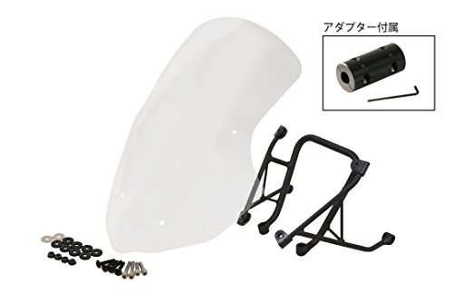 en Windshield + Cradle Holder Mount Set for Yamaha FZ-09 MT-09 + φ28 Mount Adapter (Clear) (Dura Fork Replacement Head)