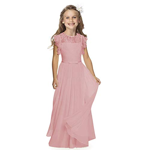 Sittingley Fancy Girls Holy Communion Dresses 1-12 Year Old (6, Dusky -