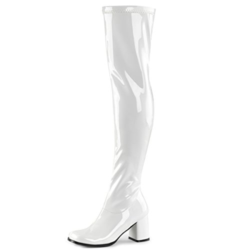Womens White Go Go Boots Over The Knee Patent Zipper Block 3 Inch Heel Size: 8