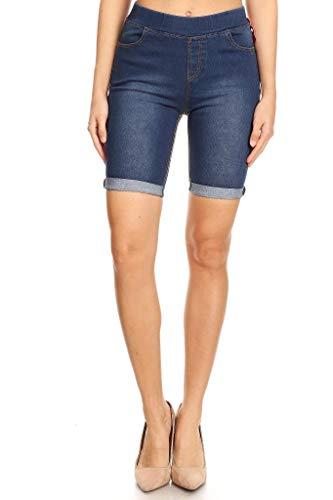 Jvini Women's Plus Size Stretchy Cuff Skinny Denim Bermuda Biker Shorts Dark Blue 1X-Large